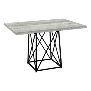 "DINING TABLE - 36""X 48"" / GREY RECLAIMED WOOD-LOOK/ BLACK    MN-1108"