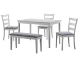 DINING SET - 5PCS SET / WHITE BENCH AND 3 SIDE CHAIRS  I-1210