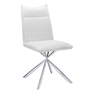 "DINING CHAIR - 2PCS / 36""H / WHITE LEATHER-LOOK / CHROME    MN-1212"