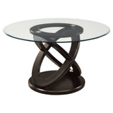 "DINING TABLE - 48""DIA / ESPRESSO WITH TEMPERED GLASS  MN-1749"