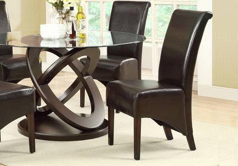 "DINING CHAIR - 2PCS / 40""H / DARK BROWN LEATHER-LOOK    MN-1776BR"