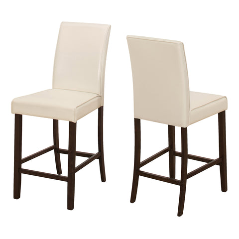 DINING CHAIR - 2PCS / IVORY LEATHER-LOOK COUNTER HEIGHT  I-1903