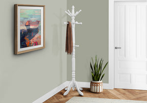 "COAT RACK - 73""H / ANTIQUE WHITE WOOD TRADITIONAL STYLE    MN-882013"
