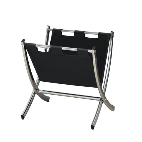 MAGAZINE RACK - BLACK LEATHER-LOOK / CHROME METAL   I-2034
