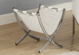 MAGAZINE RACK - WHITE LEATHER-LOOK / CHROME METAL   MN-2036
