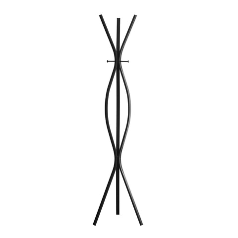 "COAT RACK - 72""H / BLACK METAL CONTEMPORARY STYLE  I-2051"