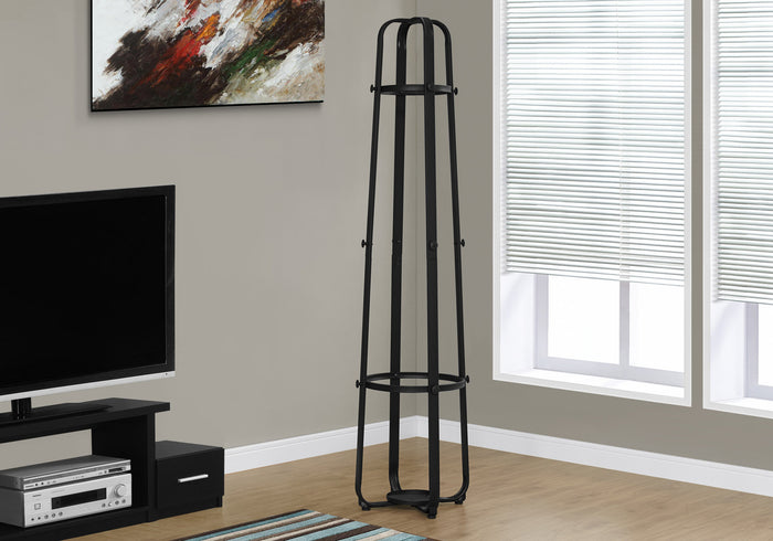 "COAT RACK - 72""H / BLACK METAL WITH AN UMBRELLA HOLDER   MN-672052"