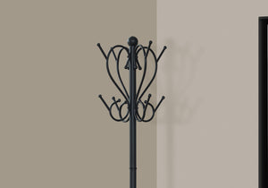 "COAT RACK - 71""H / BLACK METAL WITH AN UMBRELLA HOLDER    MN-2060"