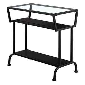 "ACCENT TABLE - 22""H / ESPRESSO / BLACK / TEMPERED GLASS    MN-2066"