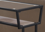 "ACCENT TABLE - 22""H / DARK TAUPE / BLACK / TEMPERED GLASS  I-2067"