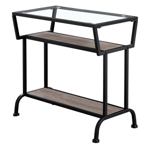 "ACCENT TABLE - 22""H / DARK TAUPE / BLACK / TEMPERED GLASS    MN-2067"