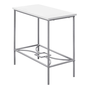 "ACCENT TABLE - 22""H / WHITE / SILVER METAL    MN-2077"