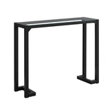 "ACCENT TABLE - 42""L / BLACK / TEMPERED GLASS HALL CONSOLE  MN-2106"