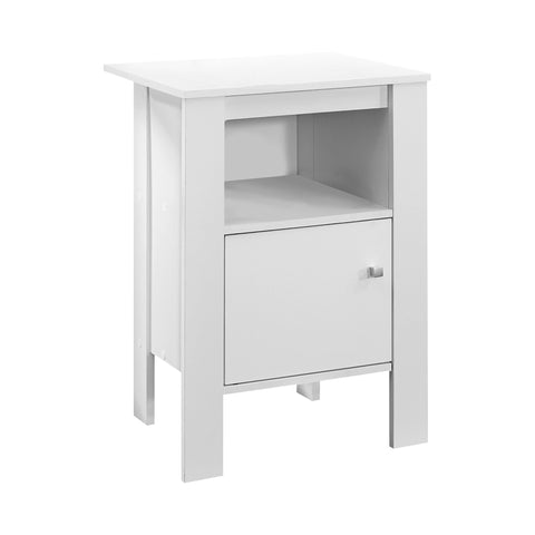 ACCENT TABLE - WHITE NIGHT STAND WITH STORAGE  I-2137