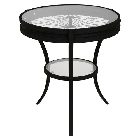 "ACCENT TABLE - 22""DIA / BLACK WITH TEMPERED GLASS  MN-2140"