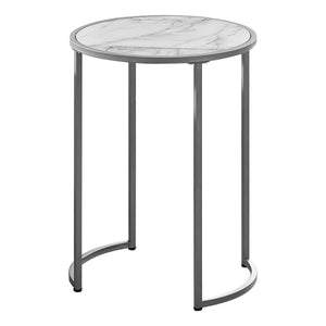 "ACCENT TABLE - 24""H / WHITE MARBLE-LOOK / SILVER METAL    MN-122205"