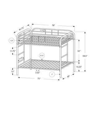 BUNK BED - TWIN / TWIN SIZE / BLACK METAL    MN-672230K