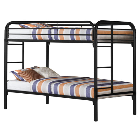 BUNK BED - TWIN / TWIN SIZE / BLACK METAL  I-2230K