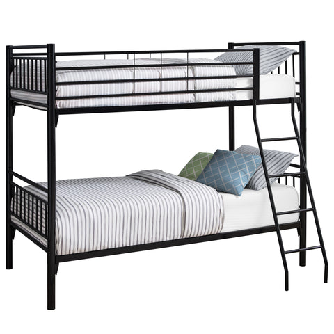 BUNK BED - TWIN / TWIN SIZE / DETACHABLE BLACK METAL  MN-2234B