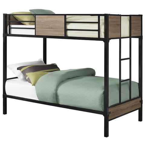 BUNK BED - TWIN / TWIN SIZE / DARK TAUPE / BLACK METAL  MN-2237B