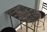 "HOME BAR - 24""X 36"" / GREY MARBLE / CHARCOAL METAL  MN-2325"