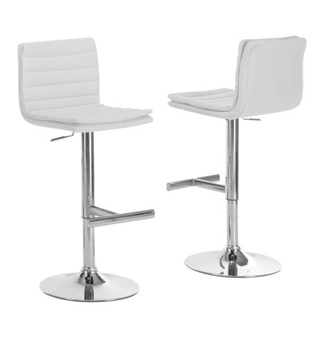 BARSTOOL - 2PCS / WHITE / CHROME METAL HYDRAULIC LIFT   I-2355