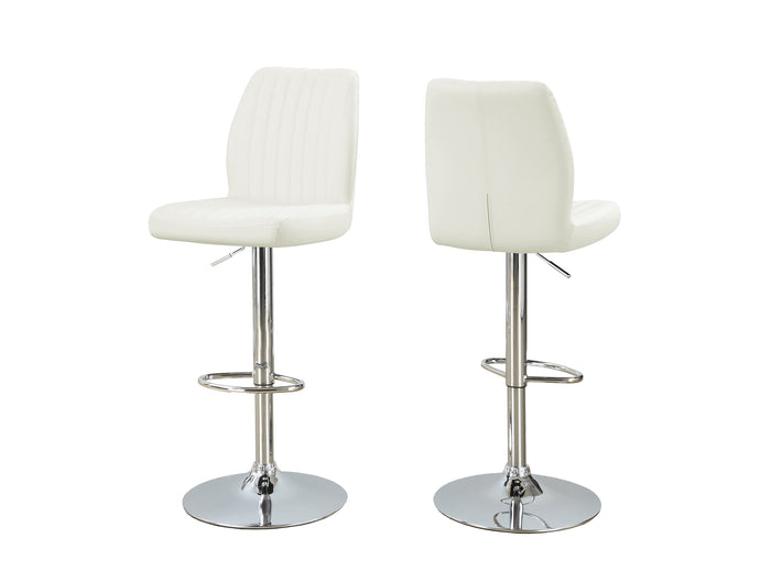 BARSTOOL - 2PCS / WHITE / CHROME METAL HYDRAULIC LIFT    MN-912370