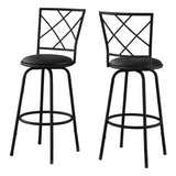 BARSTOOL - 2PCS / SWIVEL / BLACK /BLACK LEATHER-LOOK SEAT  MN-2375