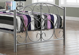 BED - TWIN SIZE / SILVER METAL FRAME ONLY   MN-2390S