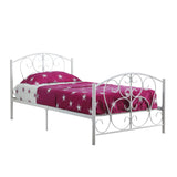 BED - TWIN SIZE / WHITE METAL FRAME ONLY  MN-2390W