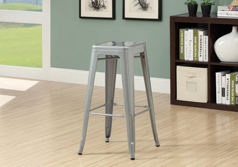 "BARSTOOL - 2PCS / 30""H / SILVER GALVANIZED METAL CAFE   MN-2402"