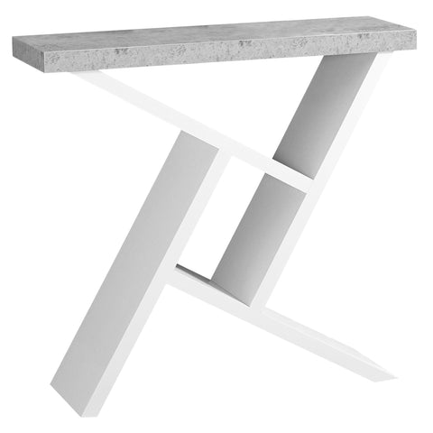 "ACCENT TABLE - 36""L / WHITE / CEMENT-LOOK HALL CONSOLE  MN-2405"