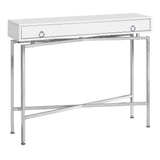 "ACCENT TABLE - 42""L / GLOSSY WHITE / CHROME HALL CONSOLE  MN-2443"