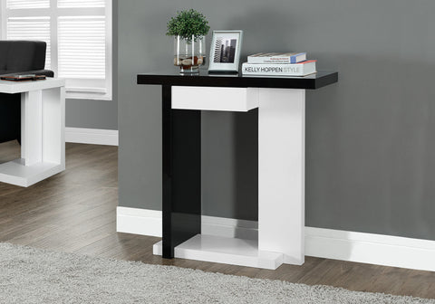 "ACCENT TABLE - 32""L / GLOSSY WHITE / BLACK HALL CONSOLE   MN-2457"