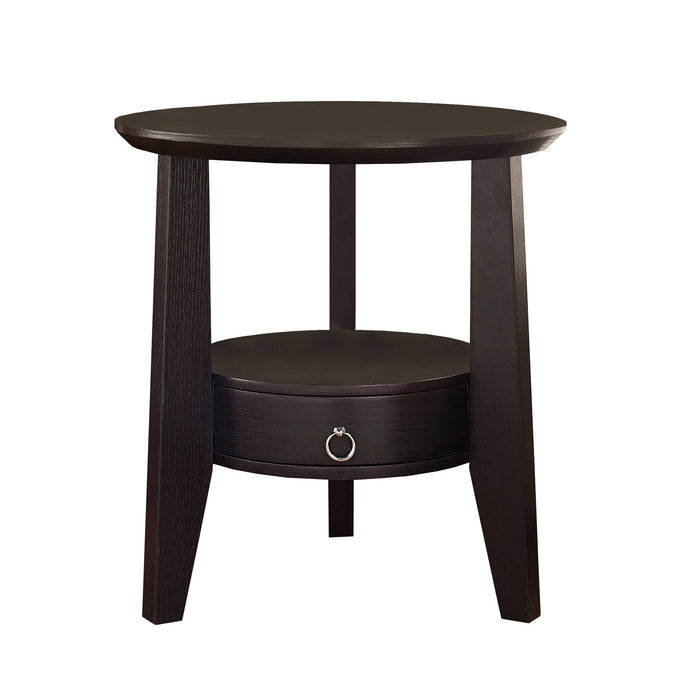 "ACCENT TABLE - 23""DIA / ESPRESSO WITH 1 DRAWER    MN-562491"