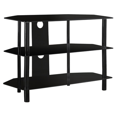 "TV STAND - 36""L / BLACK METAL WITH TEMPERED BLACK GLASS  MN-2506"