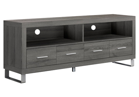 "TV STAND - 60""L / DARK TAUPE WITH 4 DRAWERS  I-2517"
