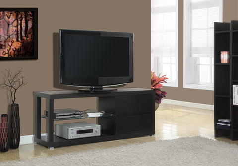 "TV STAND - 60""L / CAPPUCCINO WITH TEMPERED GLASS   MN-2581"