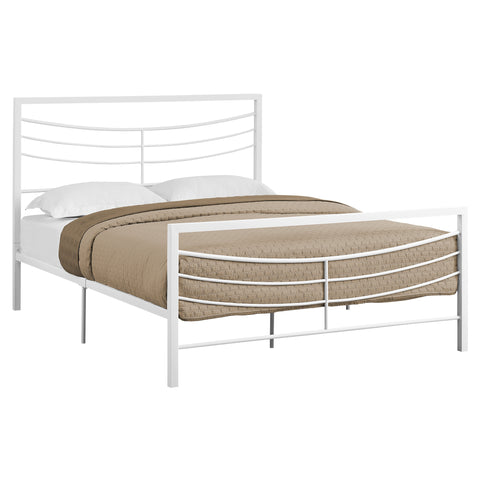 BED - QUEEN SIZE / WHITE METAL FRAME ONLY  MN-2640Q
