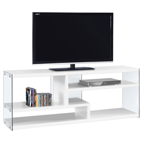 "TV STAND - 60""L / GLOSSY WHITE WITH TEMPERED GLASS  MN-2690"