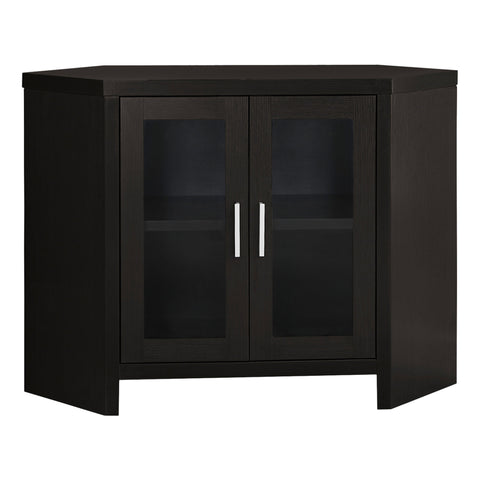 "TV STAND - 42""L / CAPPUCCINO CORNER WITH GLASS DOORS  MN-2700"