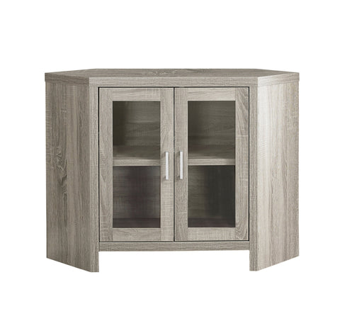 "TV STAND - 42""L / DARK TAUPE CORNER WITH GLASS DOORS  I-2701"