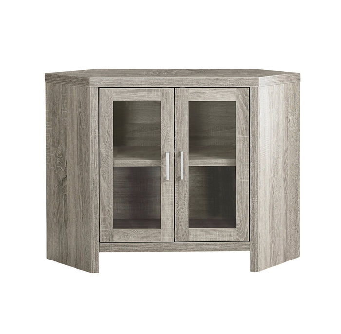"TV STAND - 42""L / DARK TAUPE CORNER WITH GLASS DOORS    MN-2701"