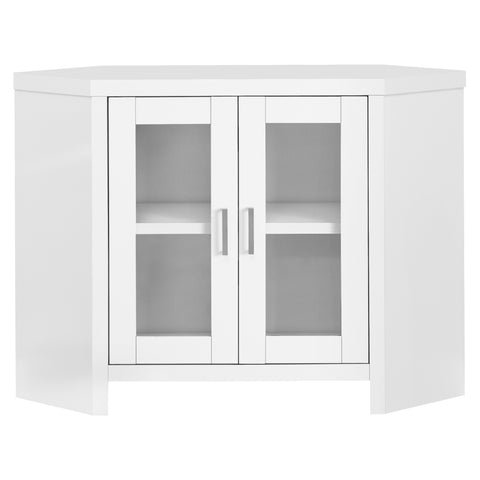 "TV STAND - 42""L / WHITE CORNER WITH GLASS DOORS  MN-2703"