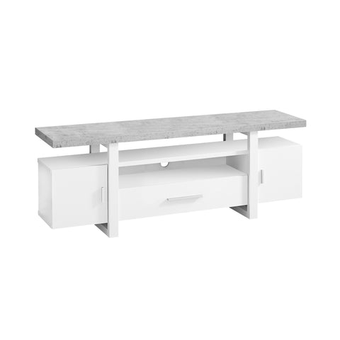 "TV STAND - 60""L / WHITE / CEMENT-LOOK TOP  I-2725"