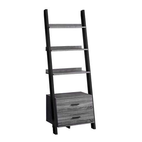 "BOOKCASE - 69""H / GREY-BLACK LADDER WITH 2 STORAGE DRAWER  I-2755"