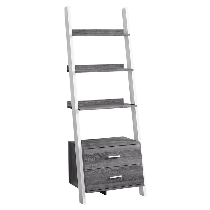 "BOOKCASE - 69""H / GREY-WHITE LADDER WITH 2 STORAGE DRAWER    MN-972756"