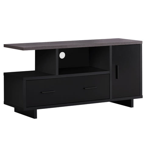 "TV STAND - 48""L / BLACK / GREY TOP WITH STORAGE   MN-2801"