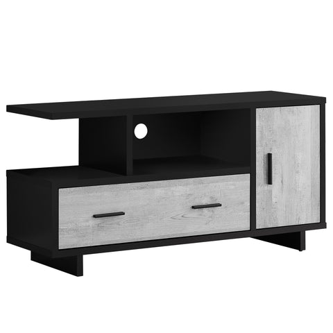 "TV STAND - 48""L / BLACK / GREY RECLAIMED WOOD-LOOK  MN-2804"