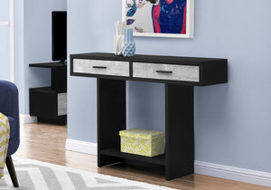 "ACCENT TABLE - 48""L / BLACK / GREY RECLAIMED WOOD-LOOK    MN-2816"